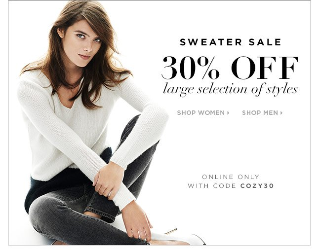 For A Limited Time: 30% Off A Large Selection Of Sweaters, Online Only