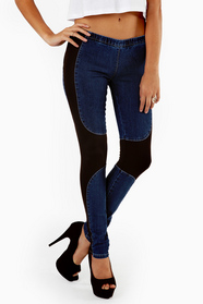 Racer Contrast Denim Leggings