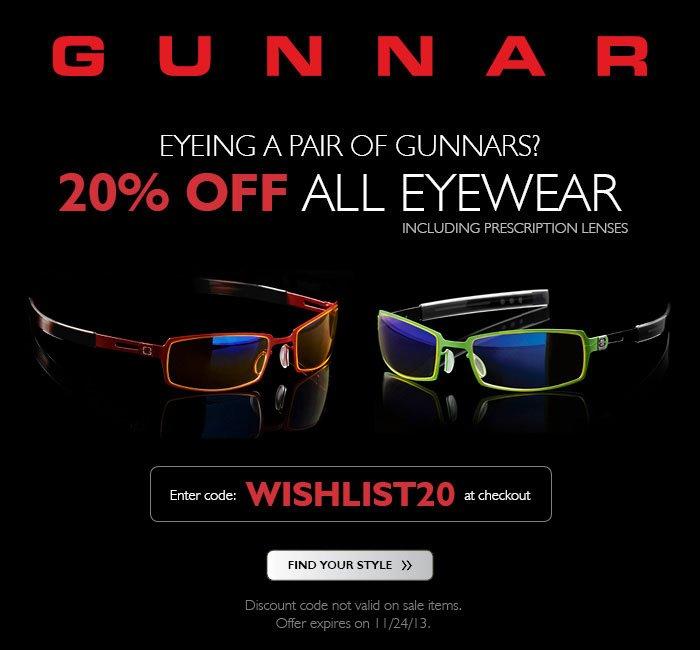 Wishlist Wednesday | 20% off all GUNNAR Eyewear