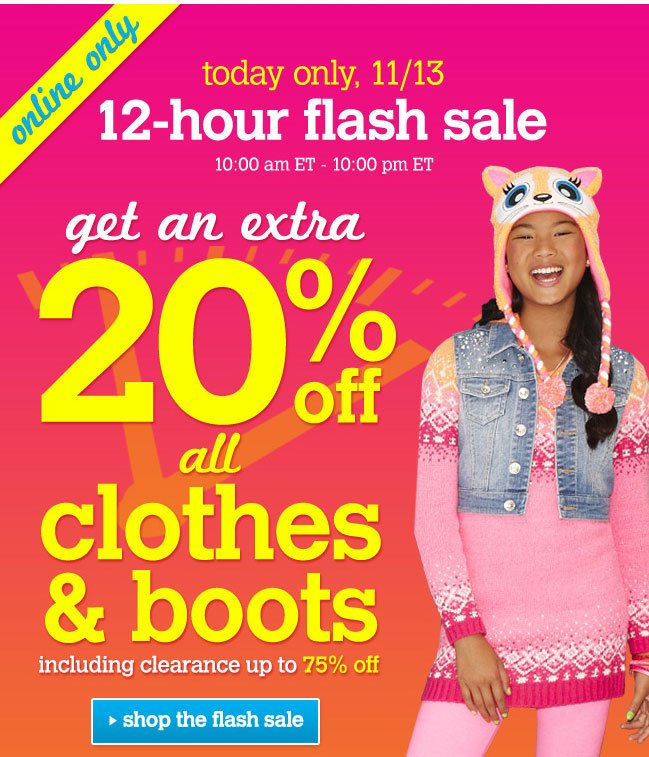 Extra 20% off all clothes & boots
