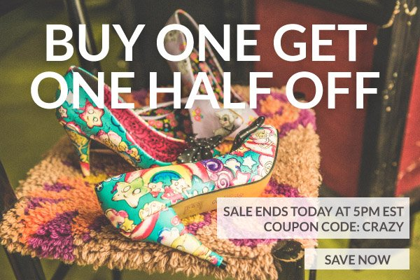 Buy One Get One Half Off with Coupon Code: CRAZY!