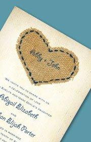 Burlap Heart Invitation