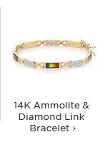 14K Ammolite & Diamond Link Bracelet