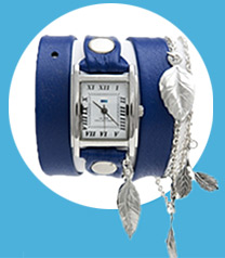 Silver Garden Leaf Charms Wrap Watch
