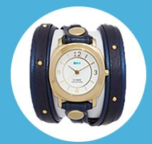 Navy Shimmer-Gold Stud Odyssey Layer Wrap Watch