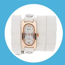 White Patent Rose Gold Soho Wrap Watch