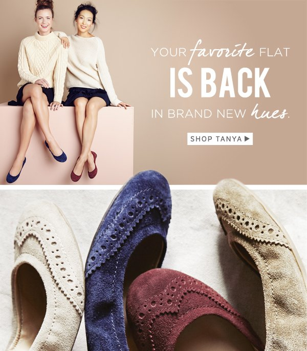 Your favorite flat is back in brand new hues. Shop Tanya