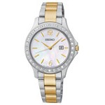 Seiko SXDF95 Women's Swarovski Crystal MOP Dial Two Tone Bracelet Quartz Watch