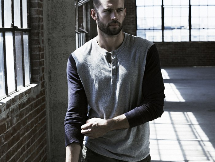 JAMES PERSE LOS ANGELES - THE CONTRAST SLEEVE HENLEY