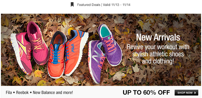 Revive your workout with stylish athletic shoes and clothing!