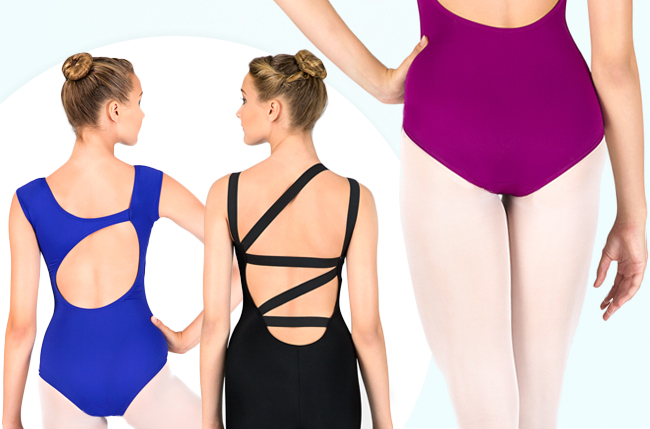Shop lovely new leotards with fancy backs.
