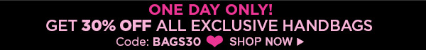 One Day Only! 30% Off Exclusive Handbags
