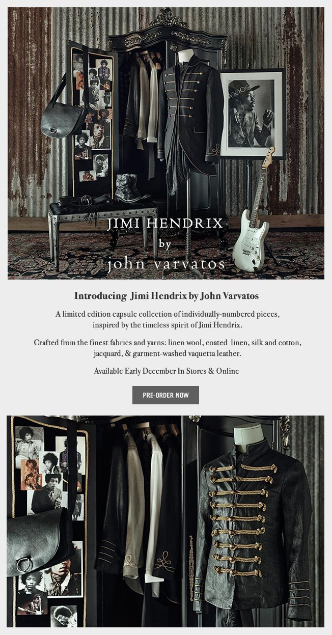 Introducing The Jimi Hendrix By John Varvatos Collection - Pre-Order Now