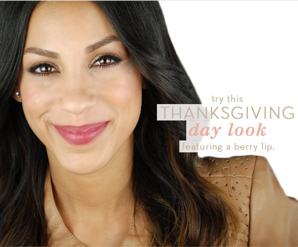 Try this Thanksgiving day look featuring a berry lip