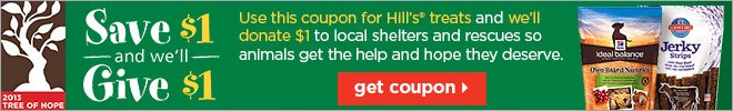 Save $1 & we'll give $1 to local shelters