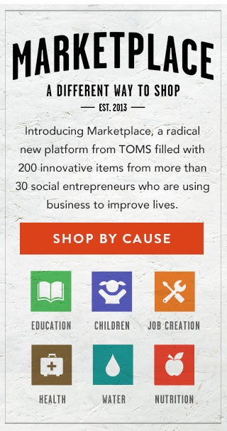 Marketplace - a different way to shop. Shop by Cause