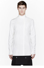 THAMANYAH Ivory Dervish collar Falconry Shirt for men