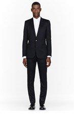 SAINT LAURENT Black Two-Button Skinny Suit for men