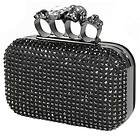 Womens Knuckle Skull Rhinestone Black Satin Clutch