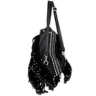 Womens Black Leather Studded Fringe Backpack