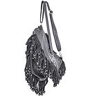Womens Grey Leather Studded Fringe Backpack