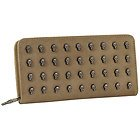Womens Taupe Skull Studded Wallet