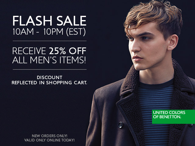 Now until 10pm, Save 25% off Menswear styles for Winter!