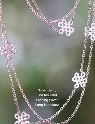 'Dpal Be'u', Tibetan Knot Sterling Silver Long Necklace