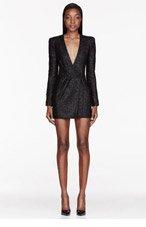 BALMAIN Black Tinsel Mini Dress for women