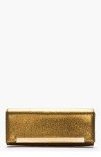 SAINT LAURENT Gold Pebbled leather Lutetia Flap clutch for women