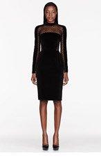 ZUHAIR MURAD Black Velvet Sheer Spotted Dress for women