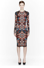 ALEXANDER MCQUEEN Red Multicolor stained glass Print dress for women