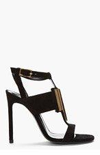 SAINT LAURENT Black & gold suede Janis T-strap Sandal for women