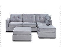 5 Series Chaise Sectional & Ottoman with Alloy Tufted Velvish Covers