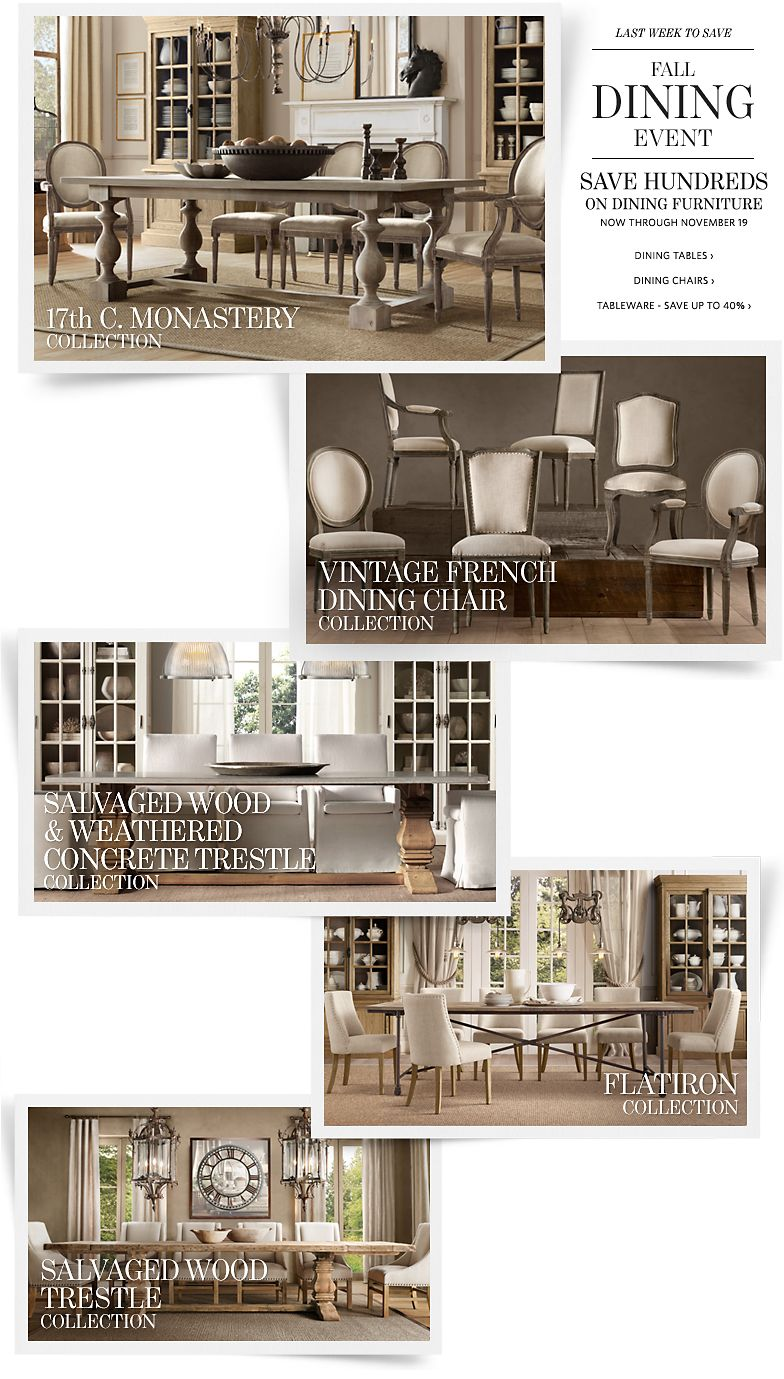 Last Week to Save - Fall Dining Event - Save Hundreds on Dining Furniture. Save up to 40% on Tableware.