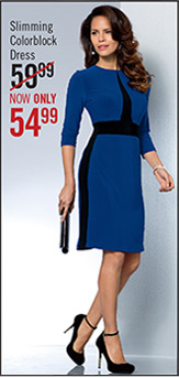 Slimming Colorblock Dress WAS $59.99 NOW $54.99