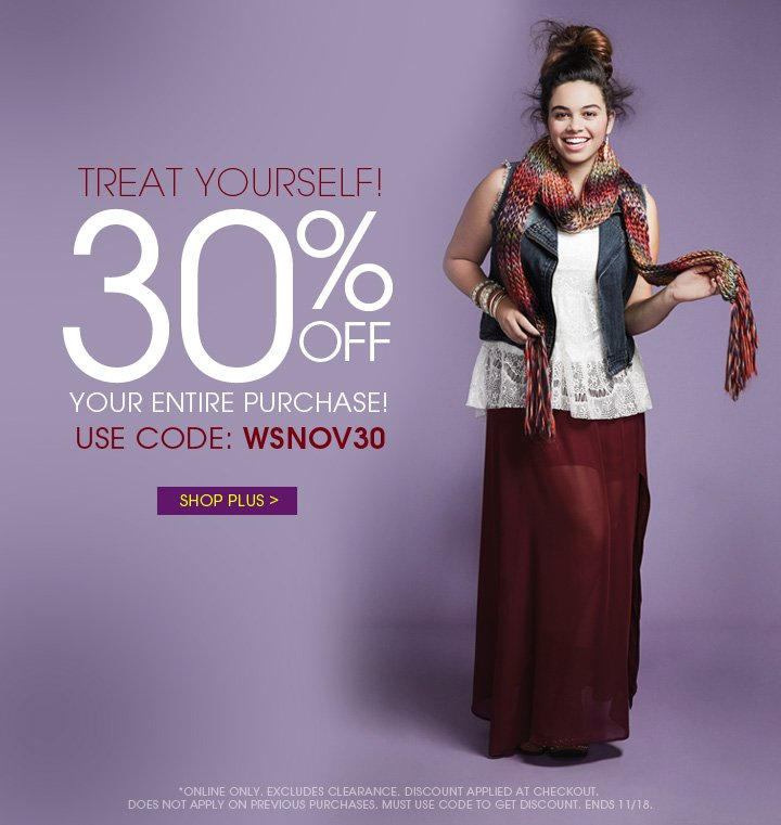 30% OFF Your Entire Purchase!