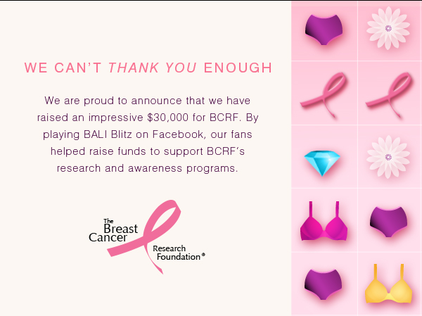 We Can't Thank You Enough: We are proud to announce that we have raised an impressive $30,000 for BCRF. By playing BALI Blitz on Facebook, our fans helped raise funds to support BCRF's research and awareness programs. To show our appreciation, we are offering $3 flat-rate shipping on your next BALI  purchase. Enter code 614943 at checkout.