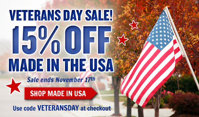 Save 15% On All American Made Products