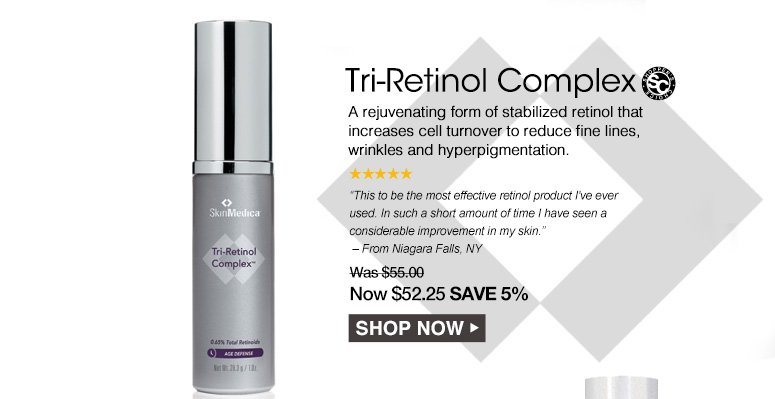 """Shopper's Choice. 5 StarsTri-Retinol ComplexA rejuvenating form of stabilized retinol that increases cell turnover to reduce fine lines, wrinkles and hyperpigmentation.""""This cream reduces wrinkles and lifts my skin, evens texture, and even lightens my skin without any irritation!"""" – From San Francisco, CAWas $55.00 Now $52.25 Save 5%Shop Now>>"""
