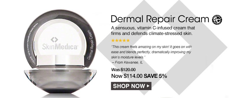 """Dermal Repair Cream Shopper's Choice. 5 Stars A sensuous, vitamin C-infused cream that firms and defends climate-stressed skin.""""This cream feels amazing on my skin! It goes on with ease and blends perfectly, dramatically improving my skin's moisture levels."""" – From Kewanee, IL Was $120.00 Now $114.00 Save 5% Shop Now>>"""