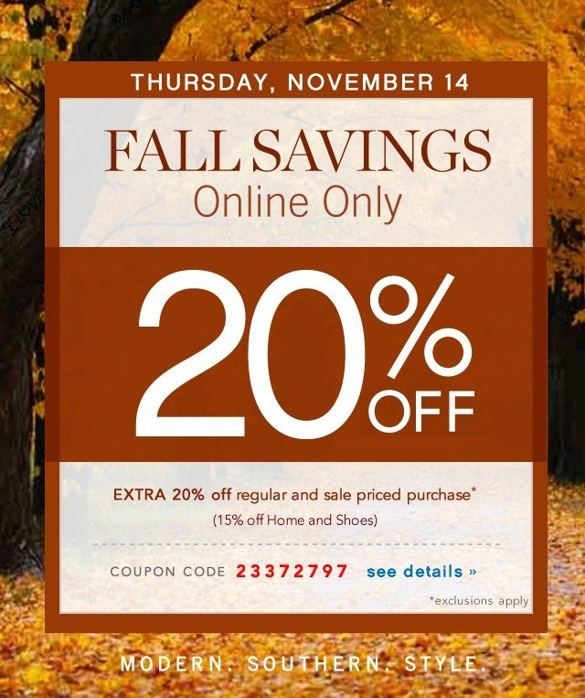 Fall Savings Online Only. Extra 20% off. See details.