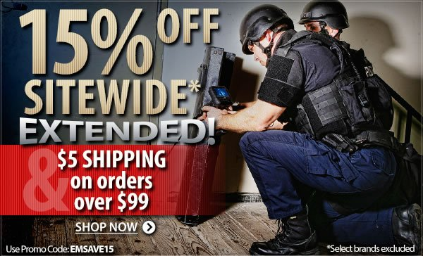 15 percent off Sitewide Extended | 5 dollar shipping on any order of 99 dollars or more