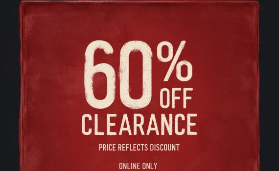 60% OFF CLEARANCE PRICE  REFLECTS DISCOUNT ONLINE ONLY