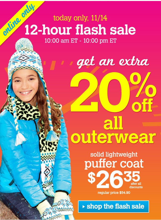 Extra 20% off all outerwear