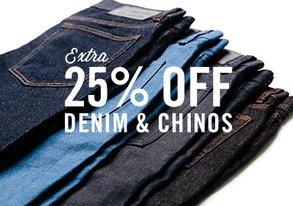 Shop 25% Off Denim & Chinos