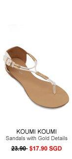 KOUMI KOUMI Casper Triangle Sandals with Gold Details