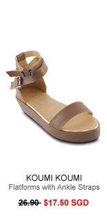 KOUMI KOUMI Leanne Flatforms with Ankle Straps