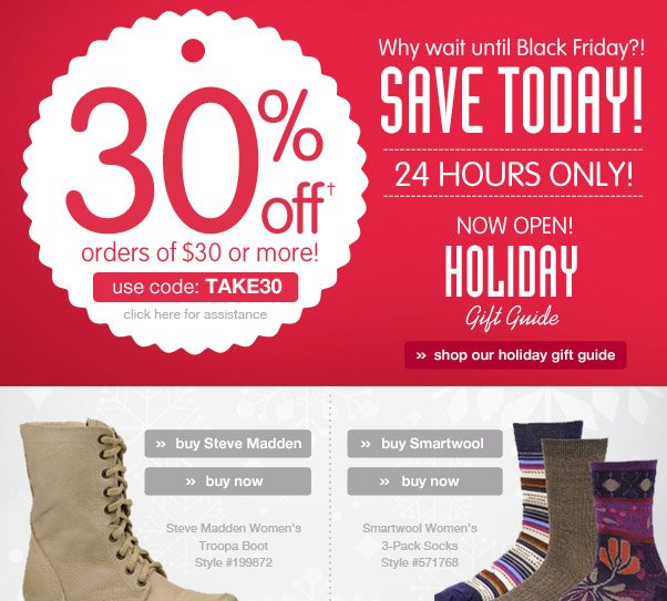 Wow - 30% Off $30+!