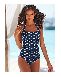 LASCANA Navy Polka Dot Swimsuit